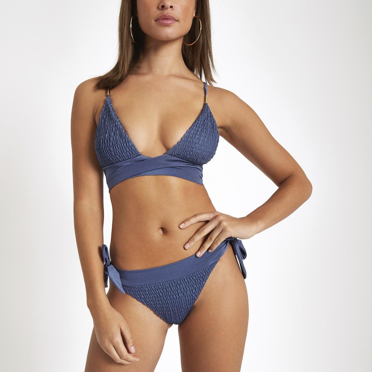 Blue shirred bikini bottoms