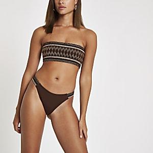 Bas de bikini échancré marron métallisé