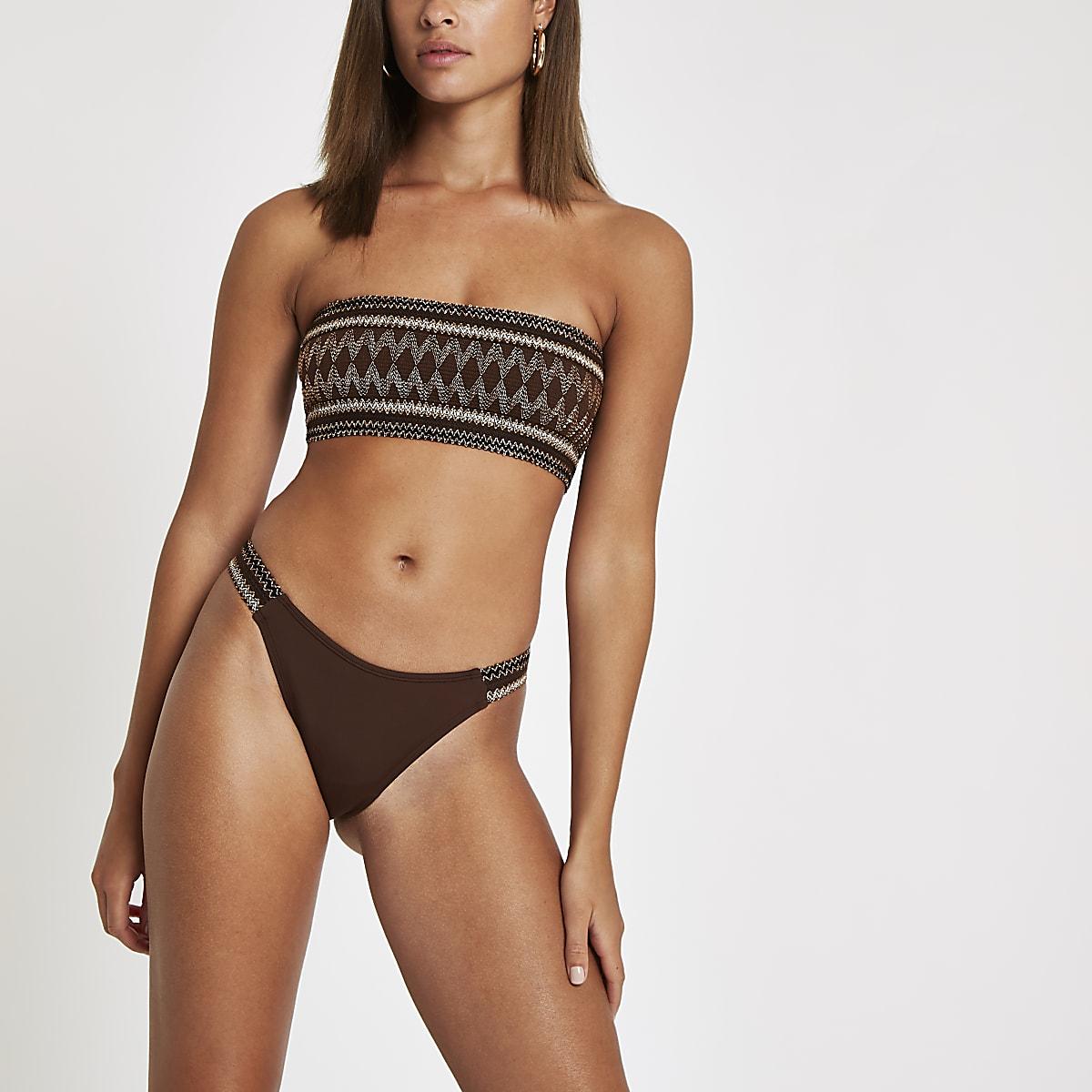 Bruin metallic hooguitgesneden bikinibroekje