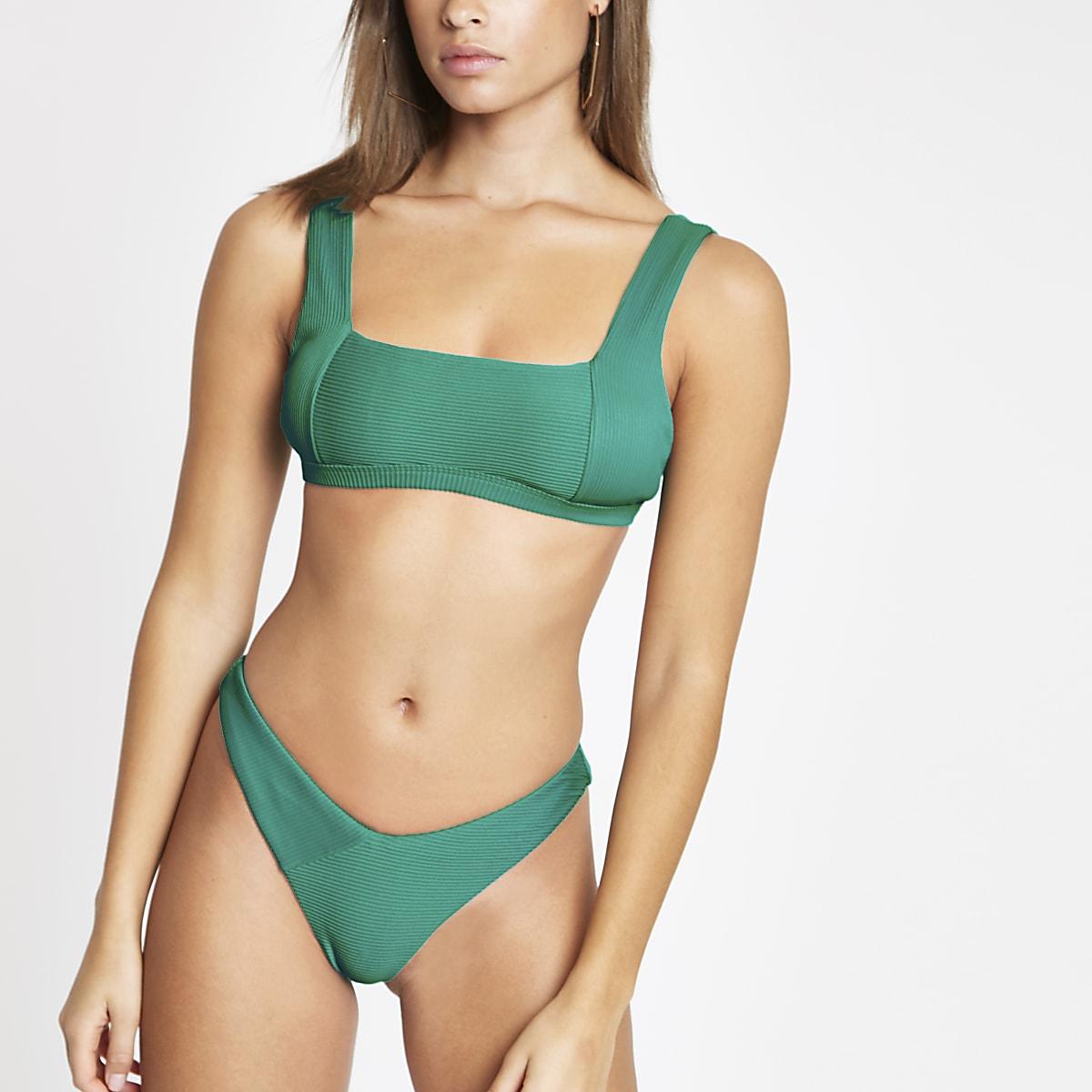 Green rib high leg bikini bottoms
