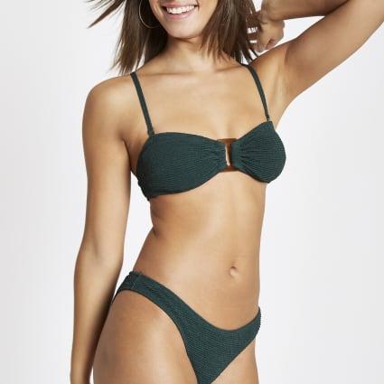 Green shirred ring bandeau bikini top