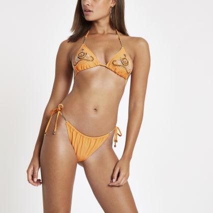 Orange tie side low rise bikini bottoms