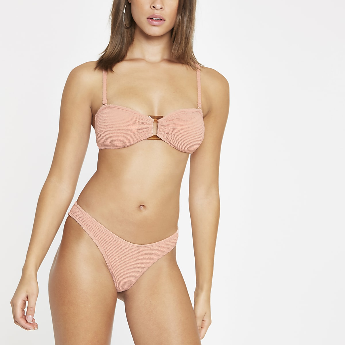 Pink textured high leg bikini bottoms
