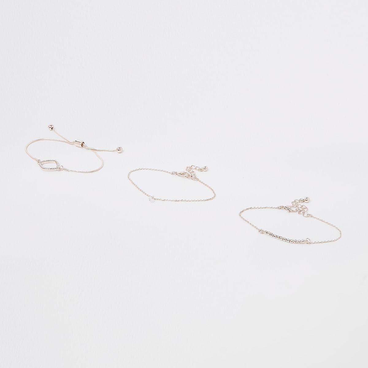 Rose gold diamante paved bracelet pack