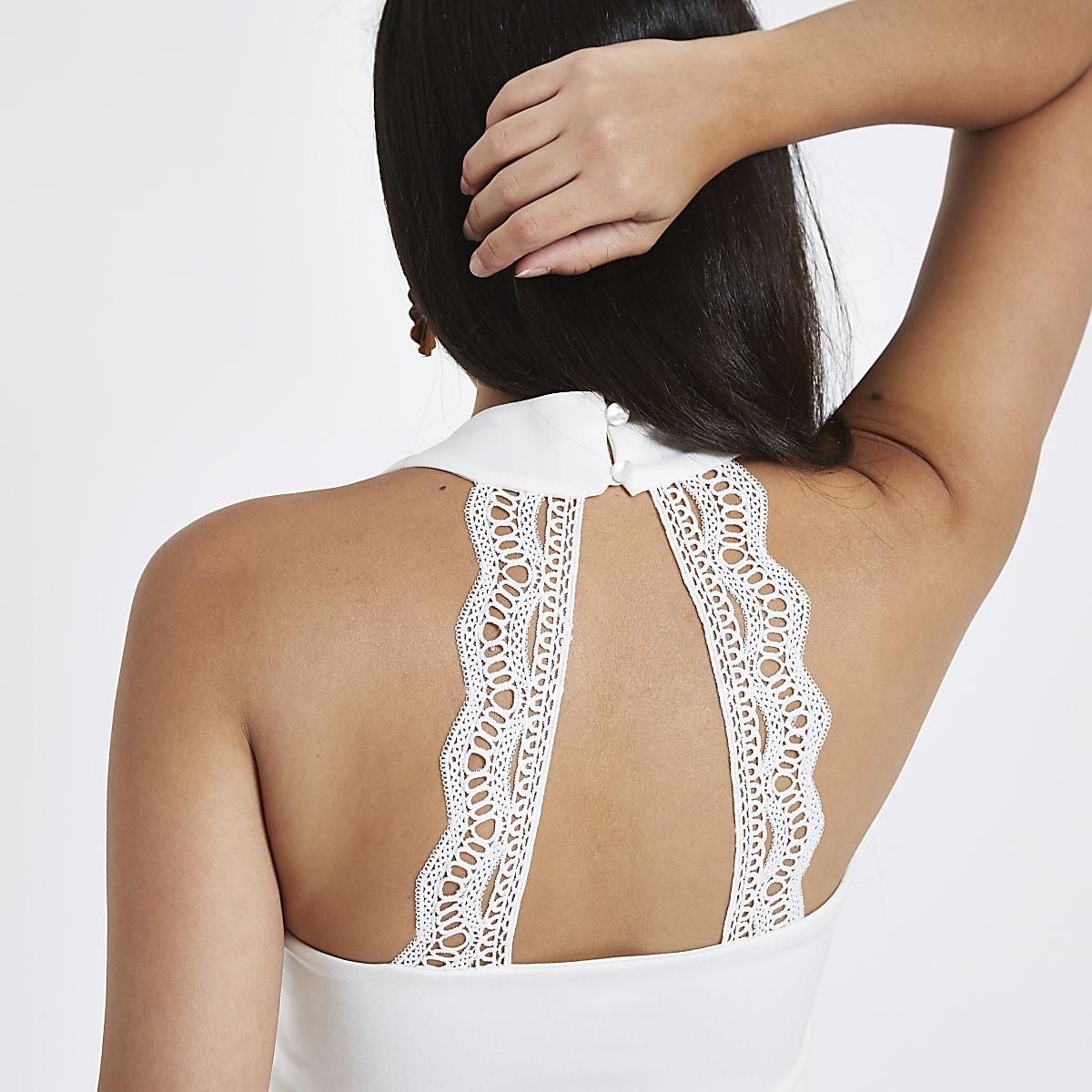 bd07713dfc0 White v neck lace back cropped bralet