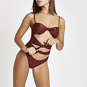 Burgundy triple knot bandeau swimsuit