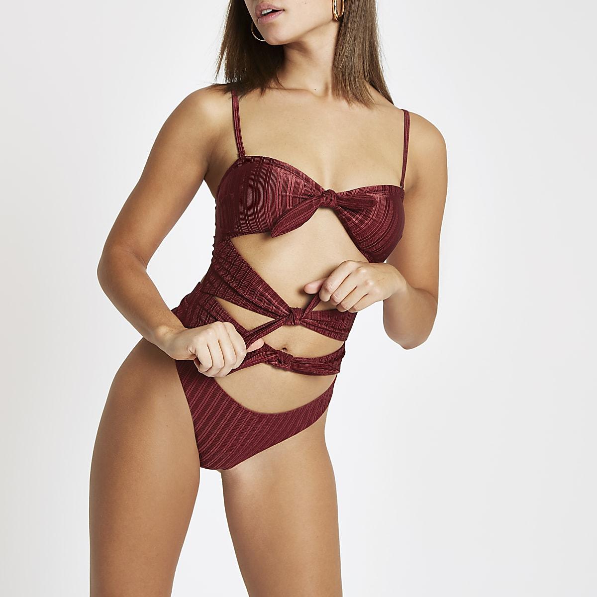 Burgundy triple knot bandeau swimsuit