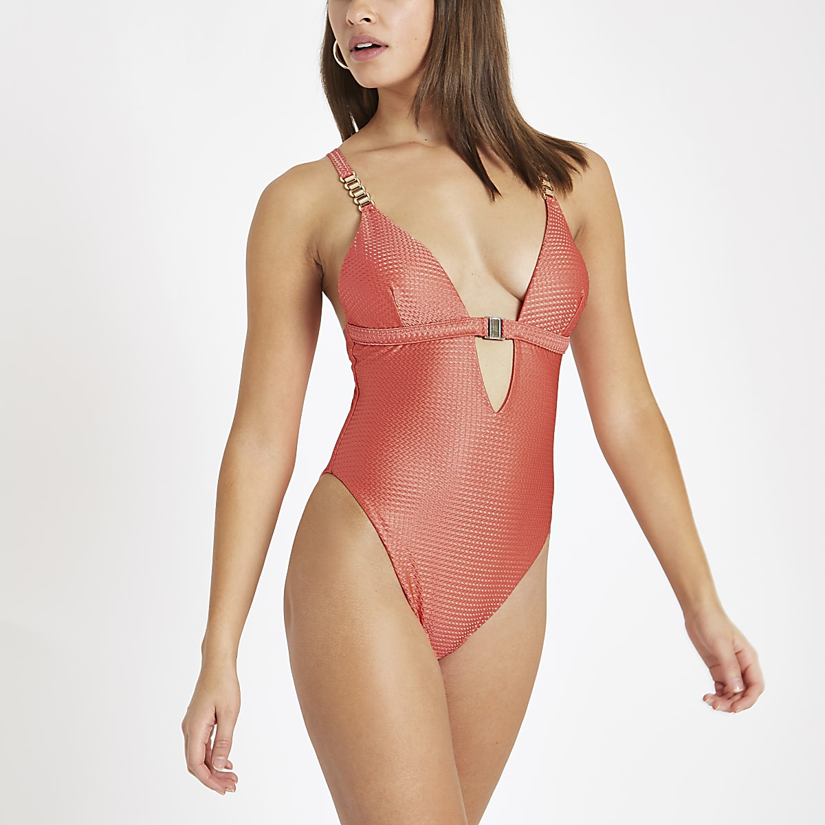 Coral textured clip front triangle swimsuit