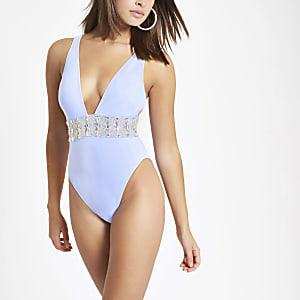 Blauw verfraaid diepuitgesneden zwempak met diamantjes