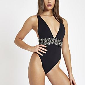 Schwarzer, strassverzierter Badeanzug