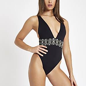 Black rhinestone embellished plunge swimsuit