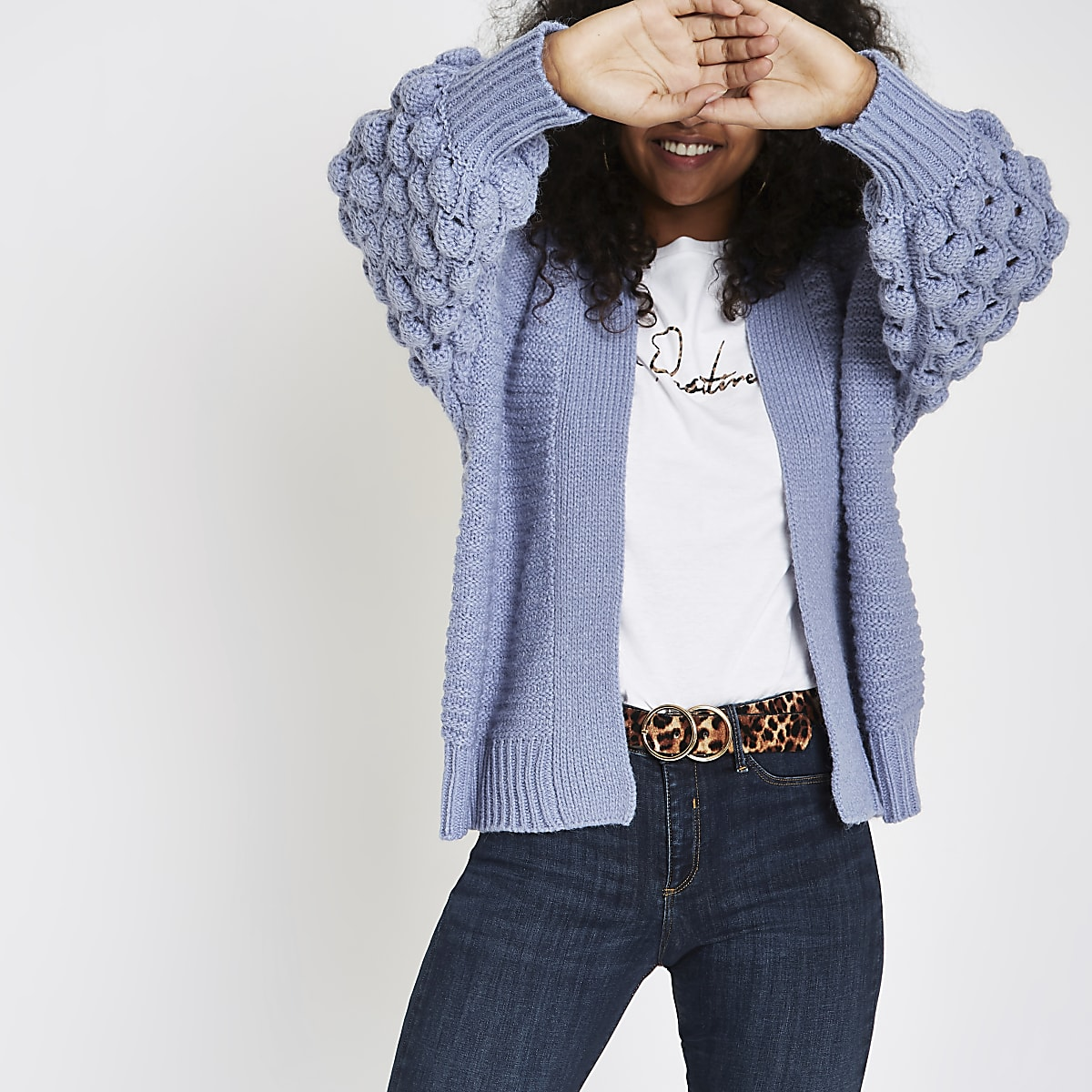 Blue bobble knit cardigan