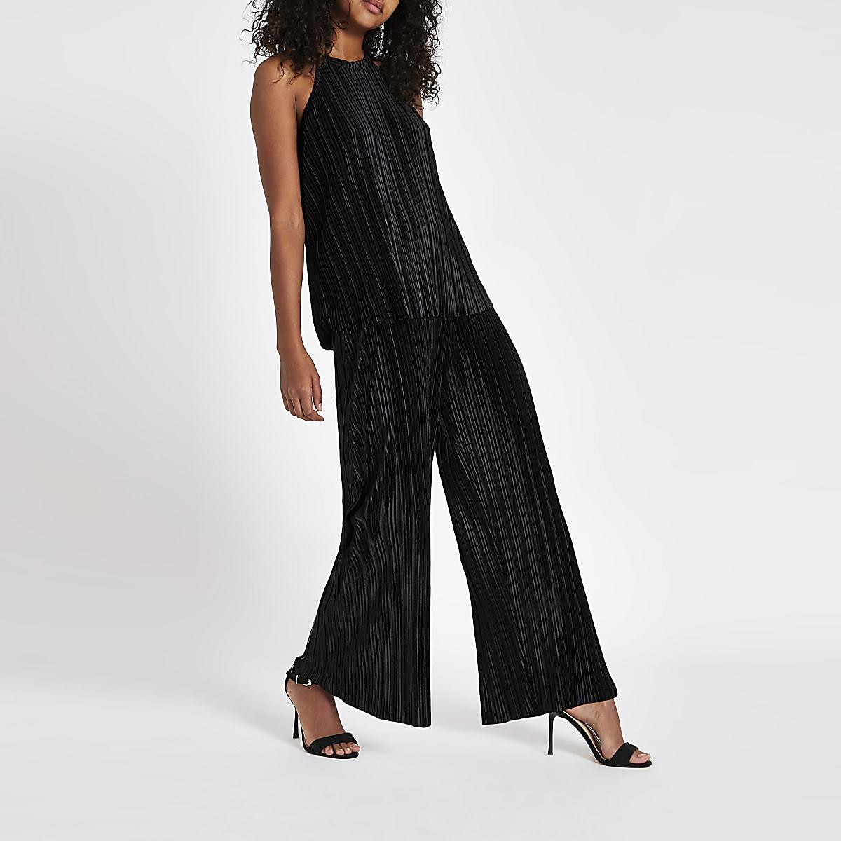 Zwarte fluwelen plissé mouwloze top