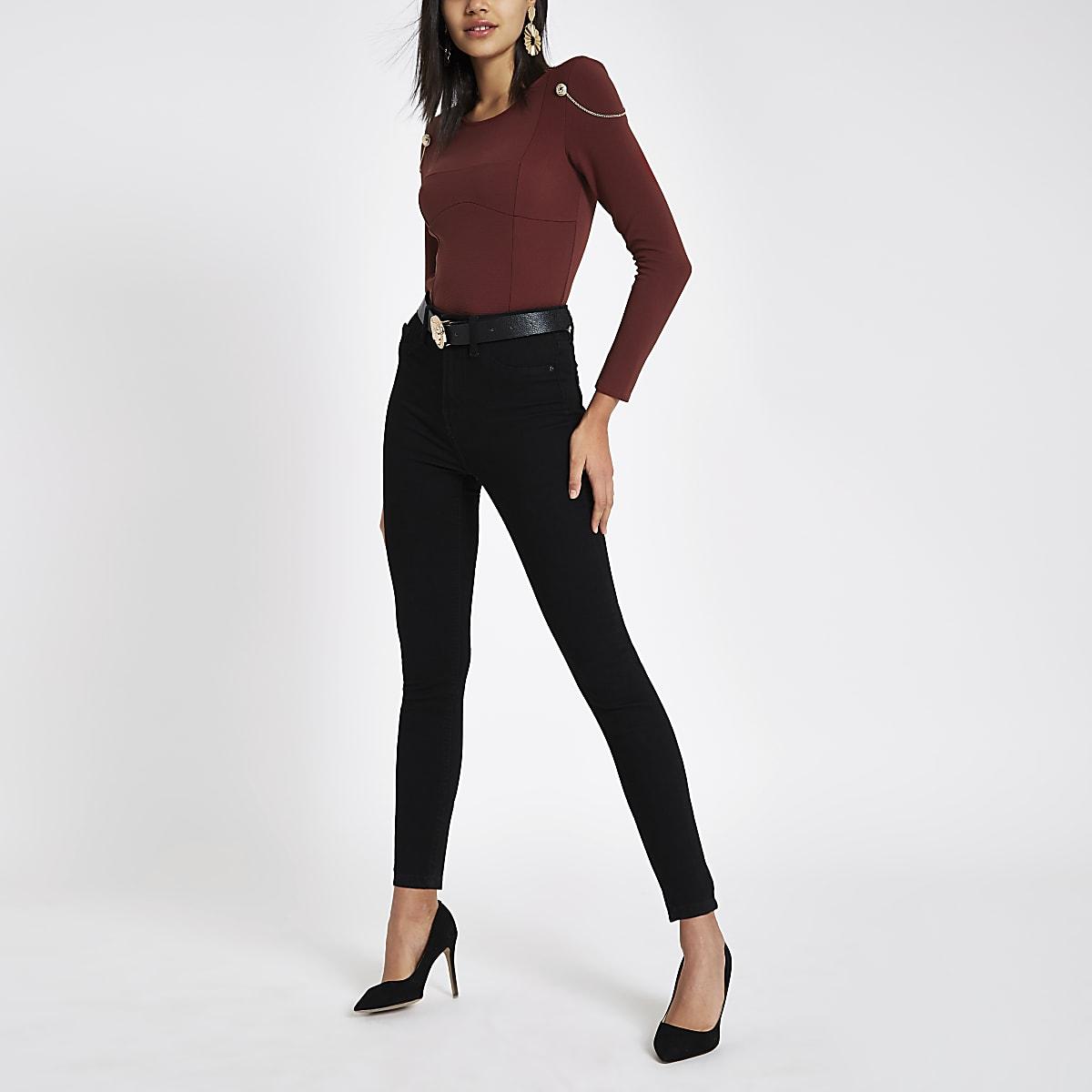 Dark red chain shoulder padded bodysuit