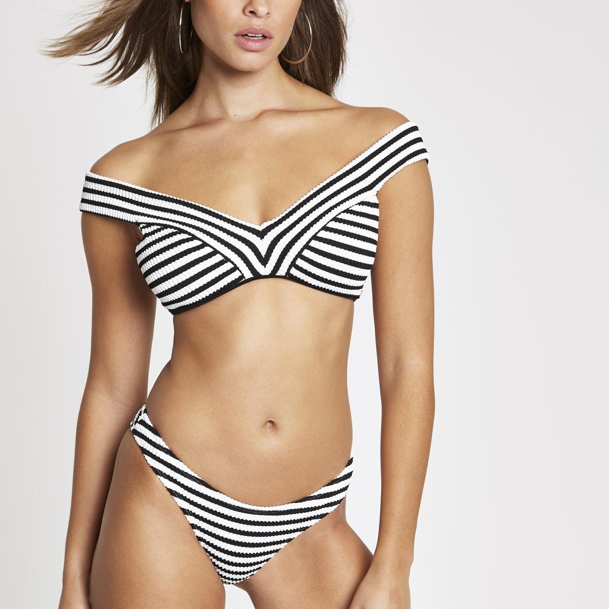 Black stripe textured high leg bikini bottoms