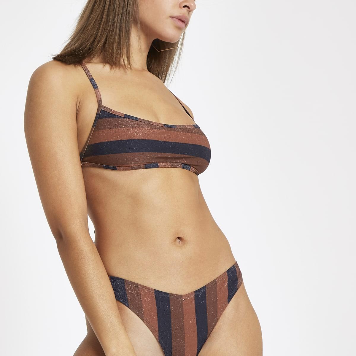 Bruine gestreepte bikinitop met gestrikte achterkant en vierkante hals