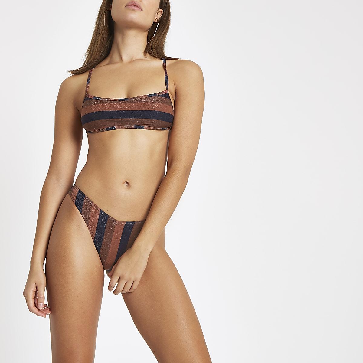 Bruin gestreept hoog uitgesneden bikinibroekje