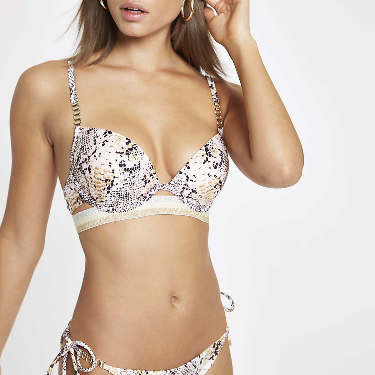 Grey snake print elastic plunge bikini top
