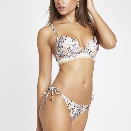 Grey snake print tie side bikini bottoms