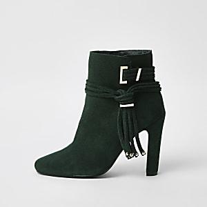 Dark green suede tassel side boots