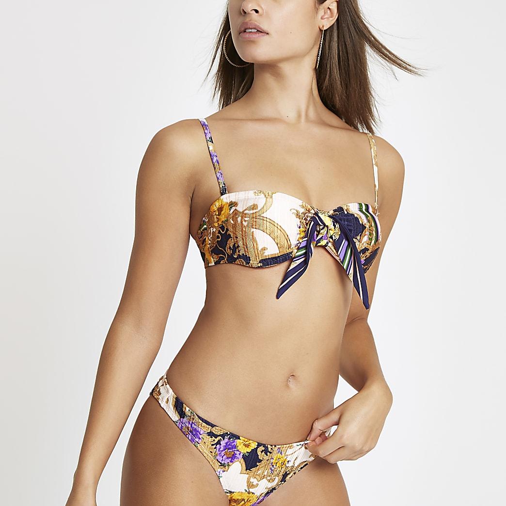 Marineblauwe bandeau-bikinitop met sjaalprint
