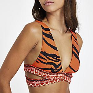 Haut de bikini triangle croisé à imprimé zèbre rouge