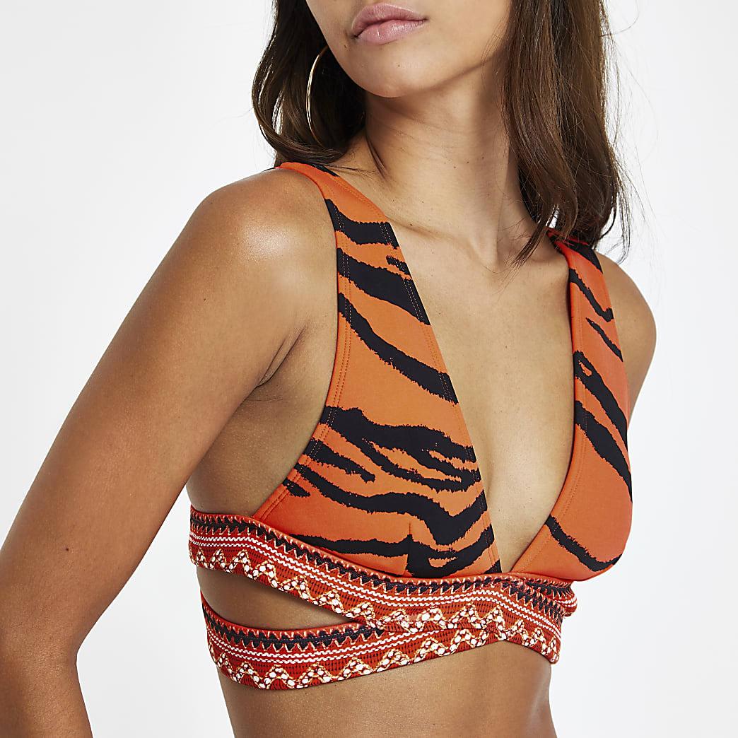 Red zebra print wrap triangle bikini top