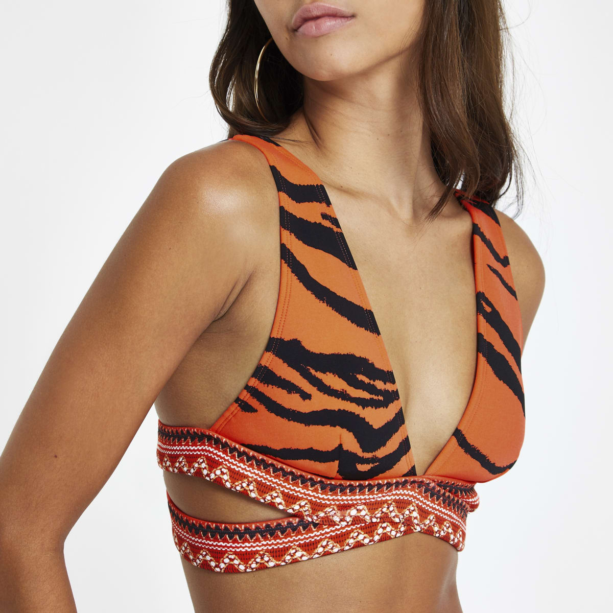 Red zebra print wrap triangle bikini top