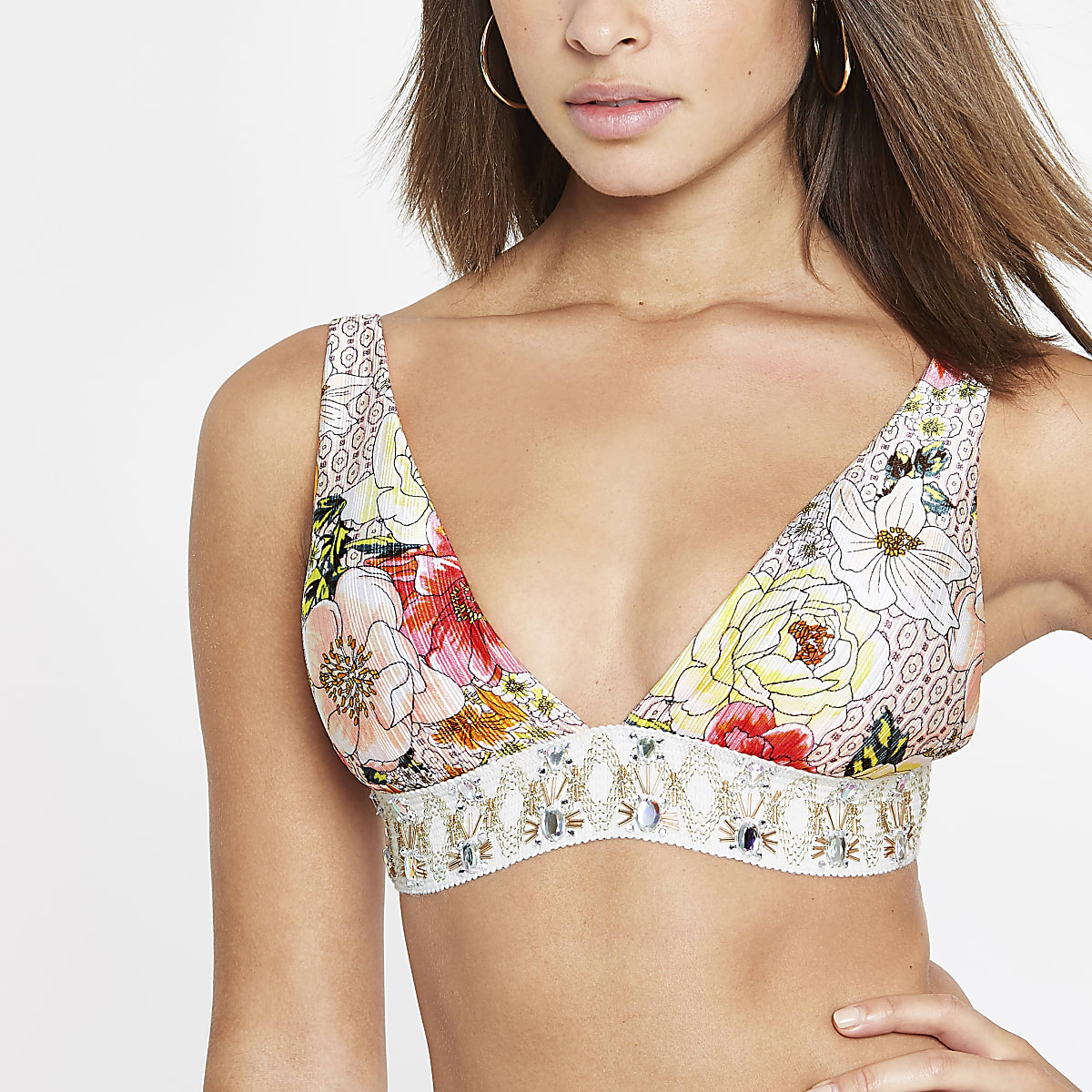 Pink floral print embellished bikini top