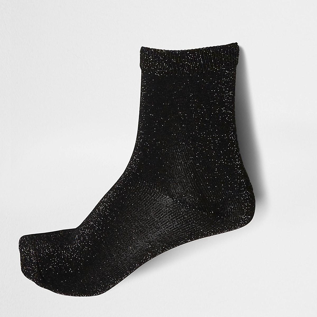 Black metallic ankle socks