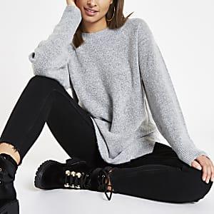 Grey split side crew neck sweater