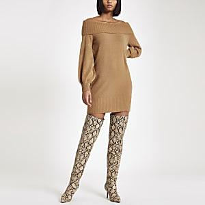 Brown knit bardot sweater dress