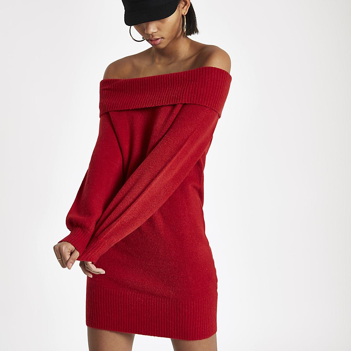 e854c800fc039e Rode trui-jurk met bardothals - Gebreide jurken - Knitwear - Dames