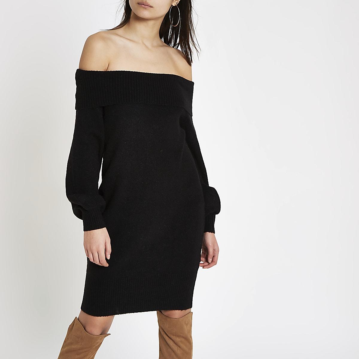 e70b2c9368d027 Zwarte trui-jurk met bardothals - Bardot   Bandeaujurken - Jurken ...