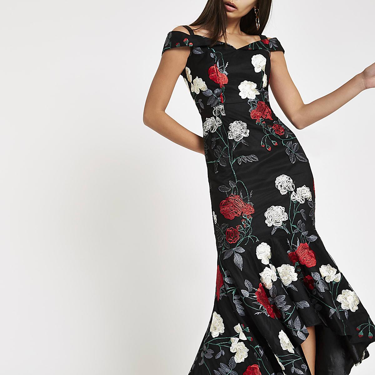 Chi Chi London black floral bardot dress