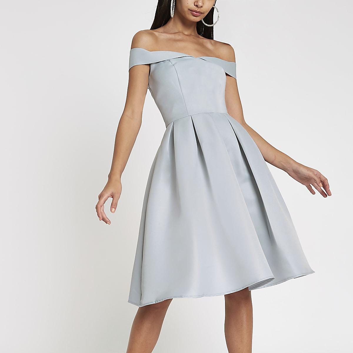Chi Chi London blue bardot neck prom dress