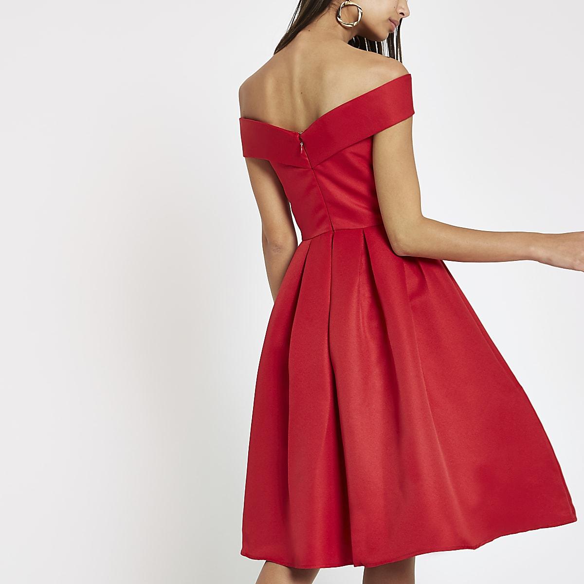 b2c46013fceb Chi Chi London red bardot neck prom dress