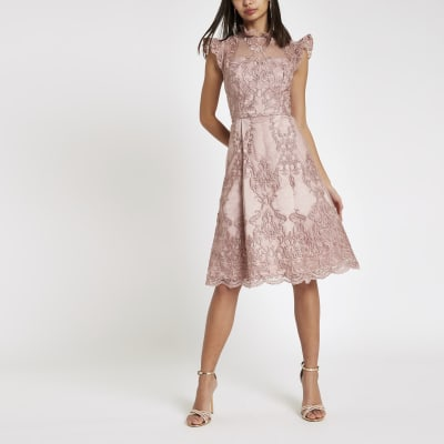 c29aecc9621043 Chi Chi London - Roze kanten wijduitlopende jurk - Skaterjurken - Jurken -  Dames