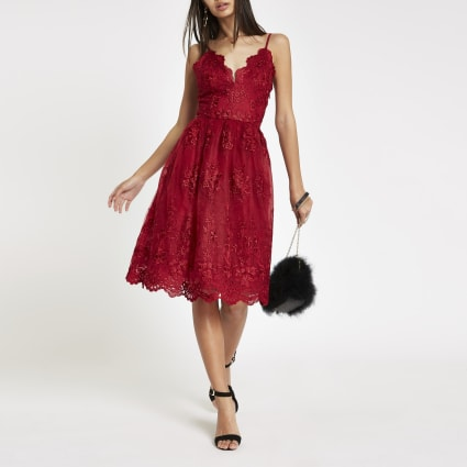 Chi Chi London red lace floral prom dress