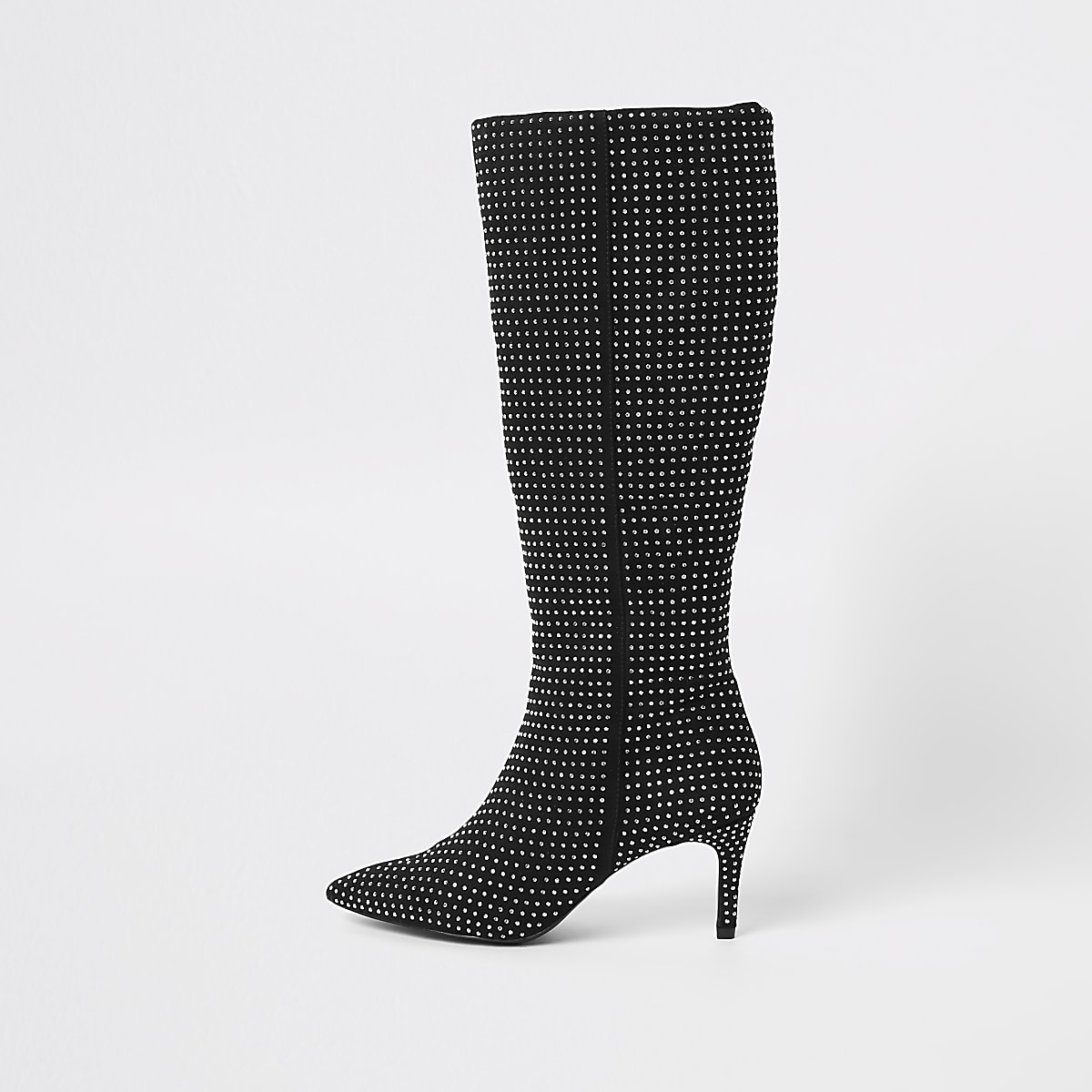139b093e642 Black diamante embellished knee high boots - Boots - Shoes   Boots - women
