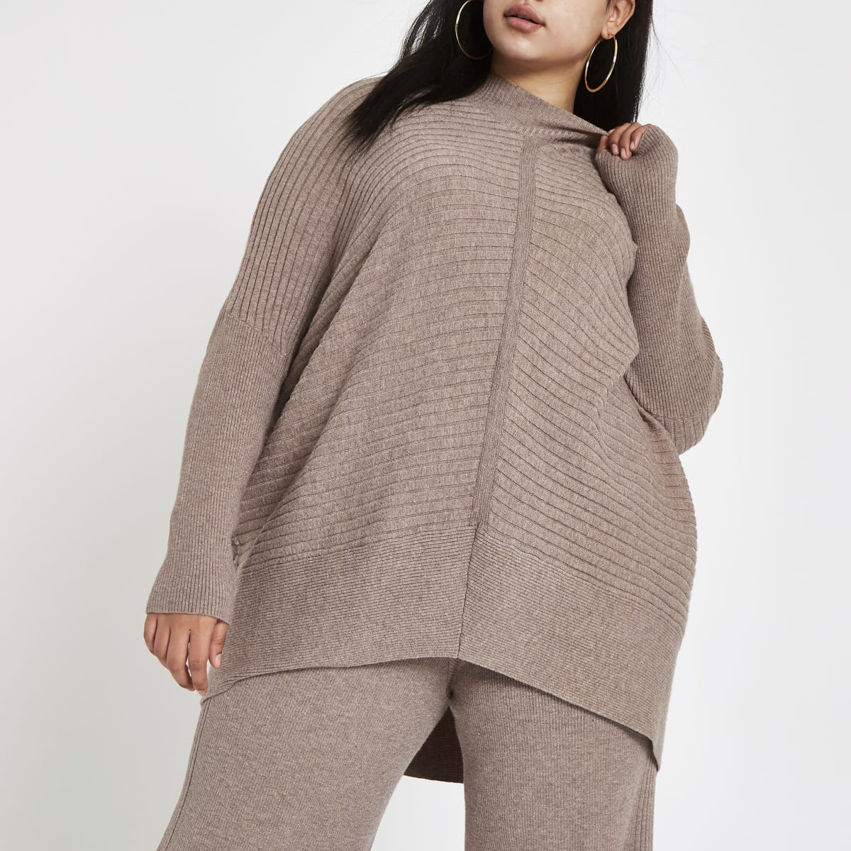 Plus beige rib knit high neck jumper