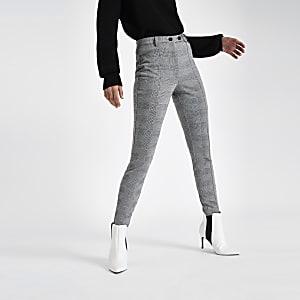 Grijze geruite skinny broek