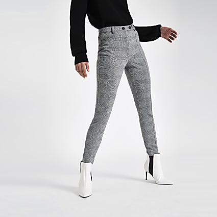 Grey check skinny trousers