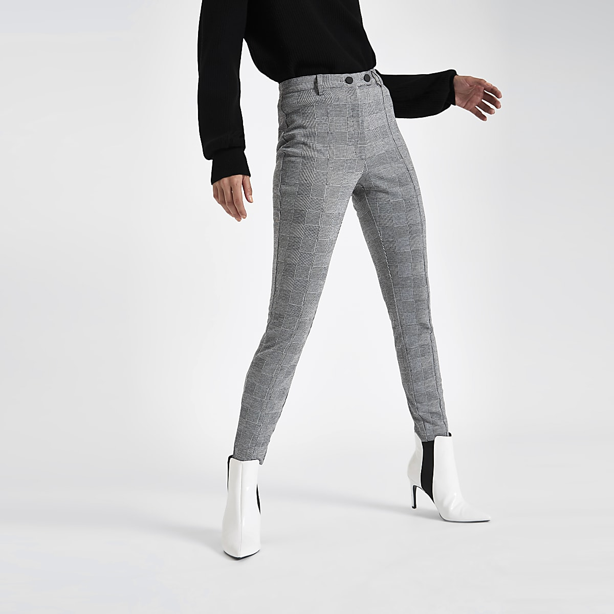 b980b72d1f1f5f Grey check skinny trousers - Skinny Trousers - Trousers - women