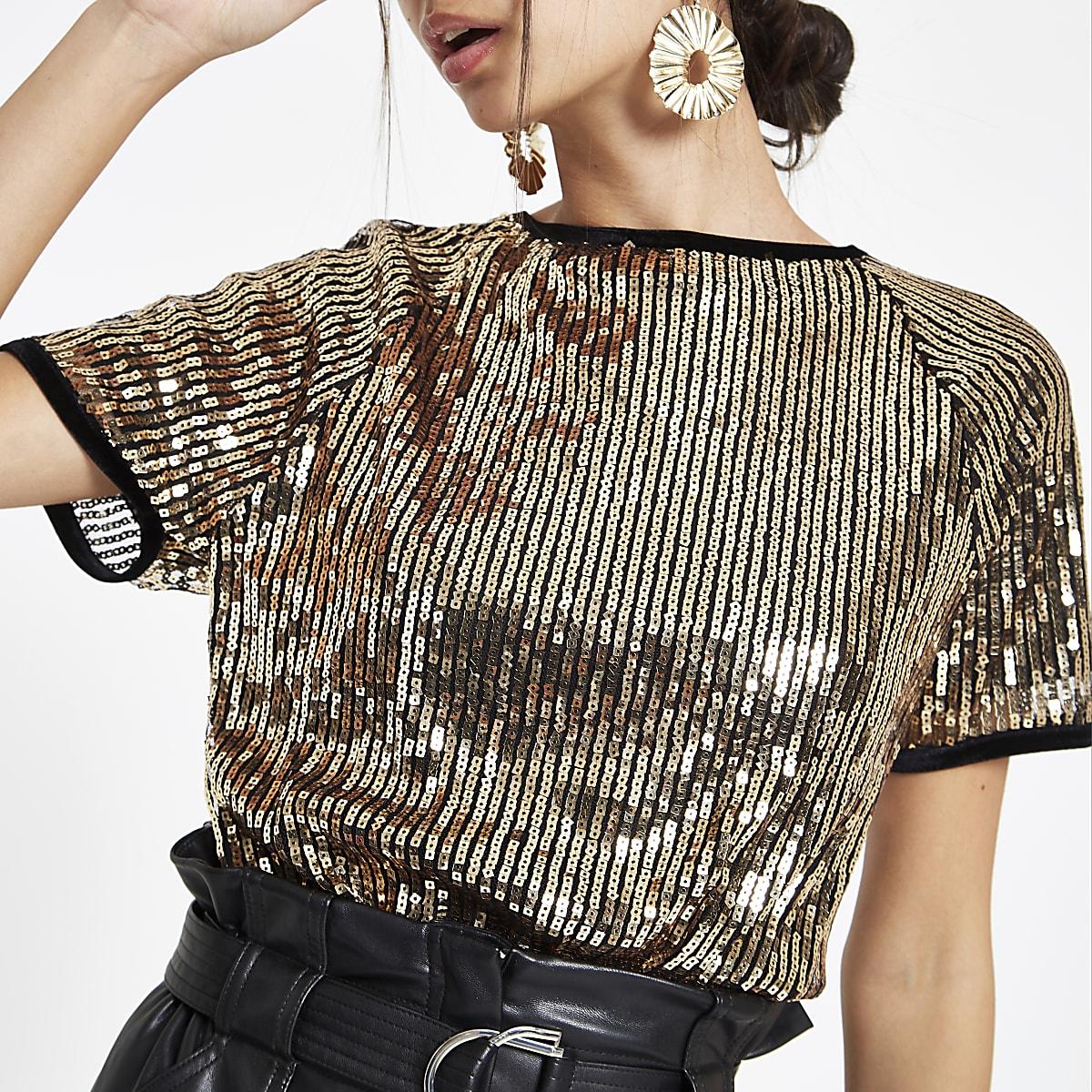 Gold sequin embellished T-shirt