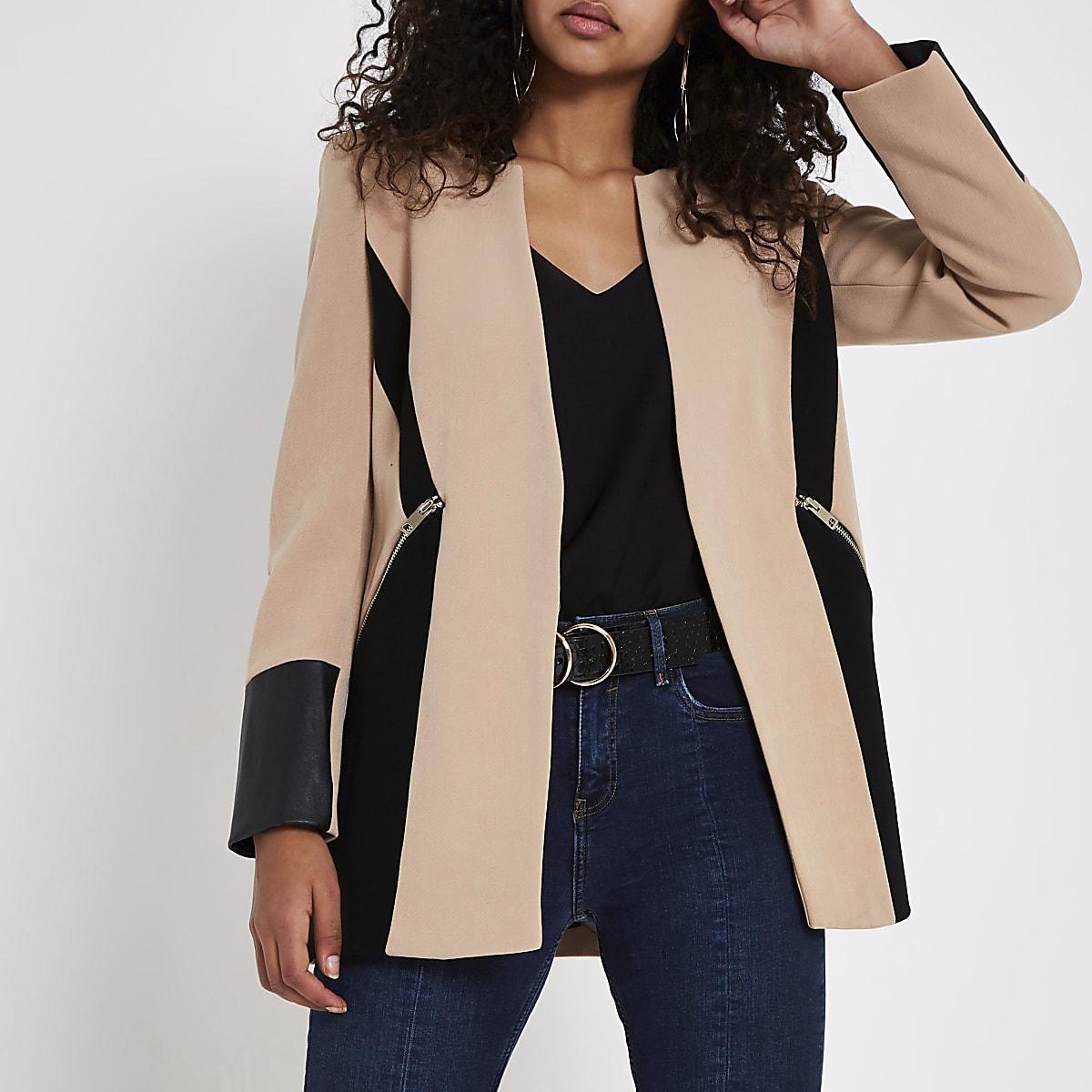 Beige contrast panel blazer