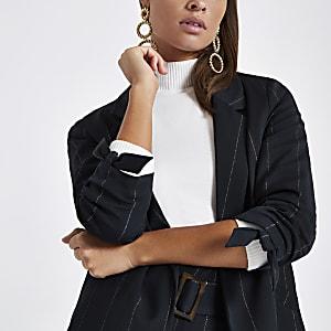 Navy metallic stripe ruched sleeve blazer