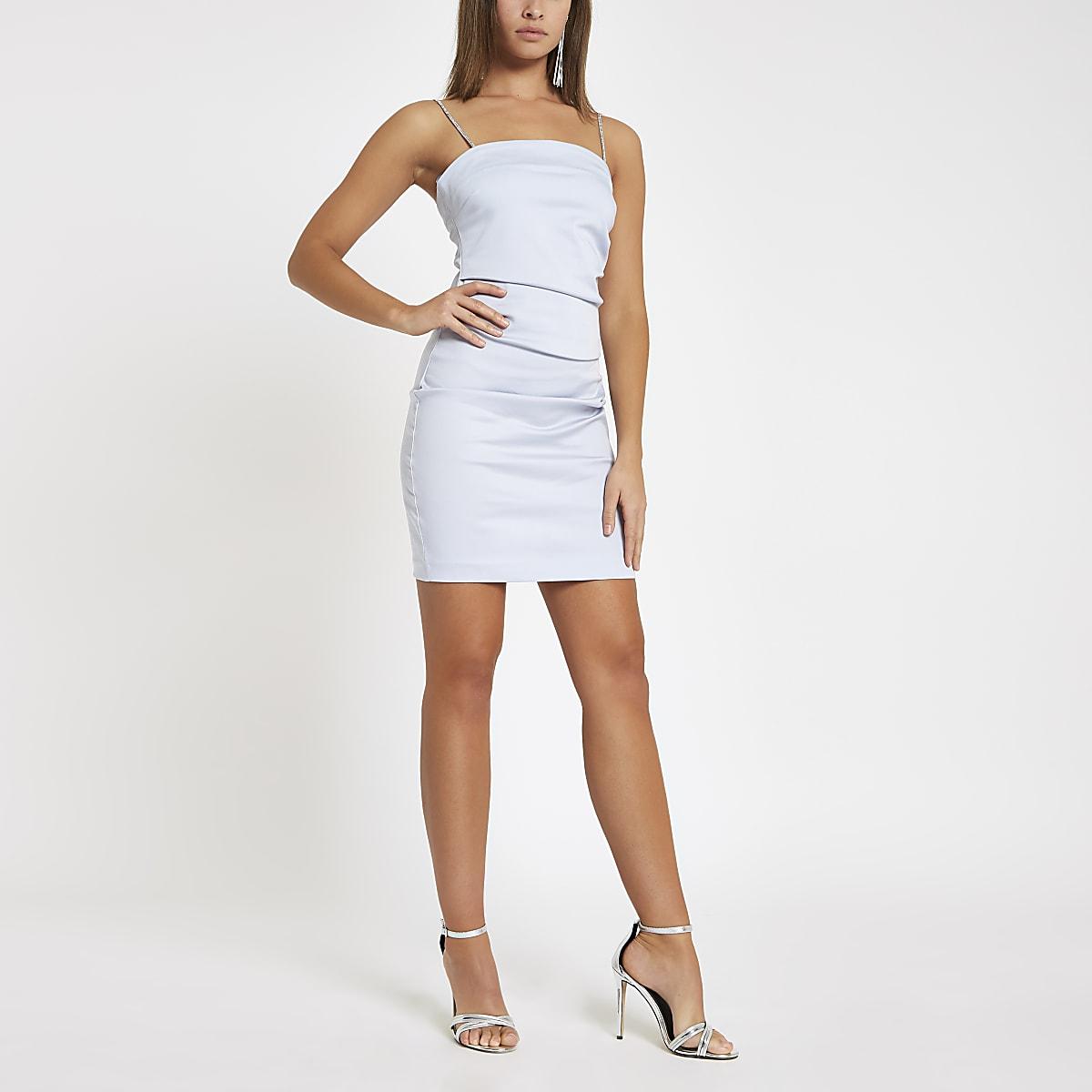 Light blue rhinestone strap mini dress