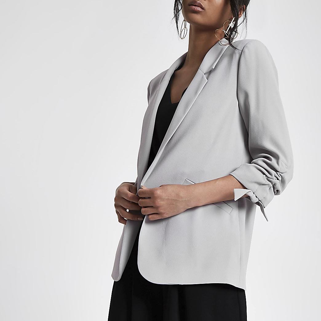 Grey ruched sleeve blazer