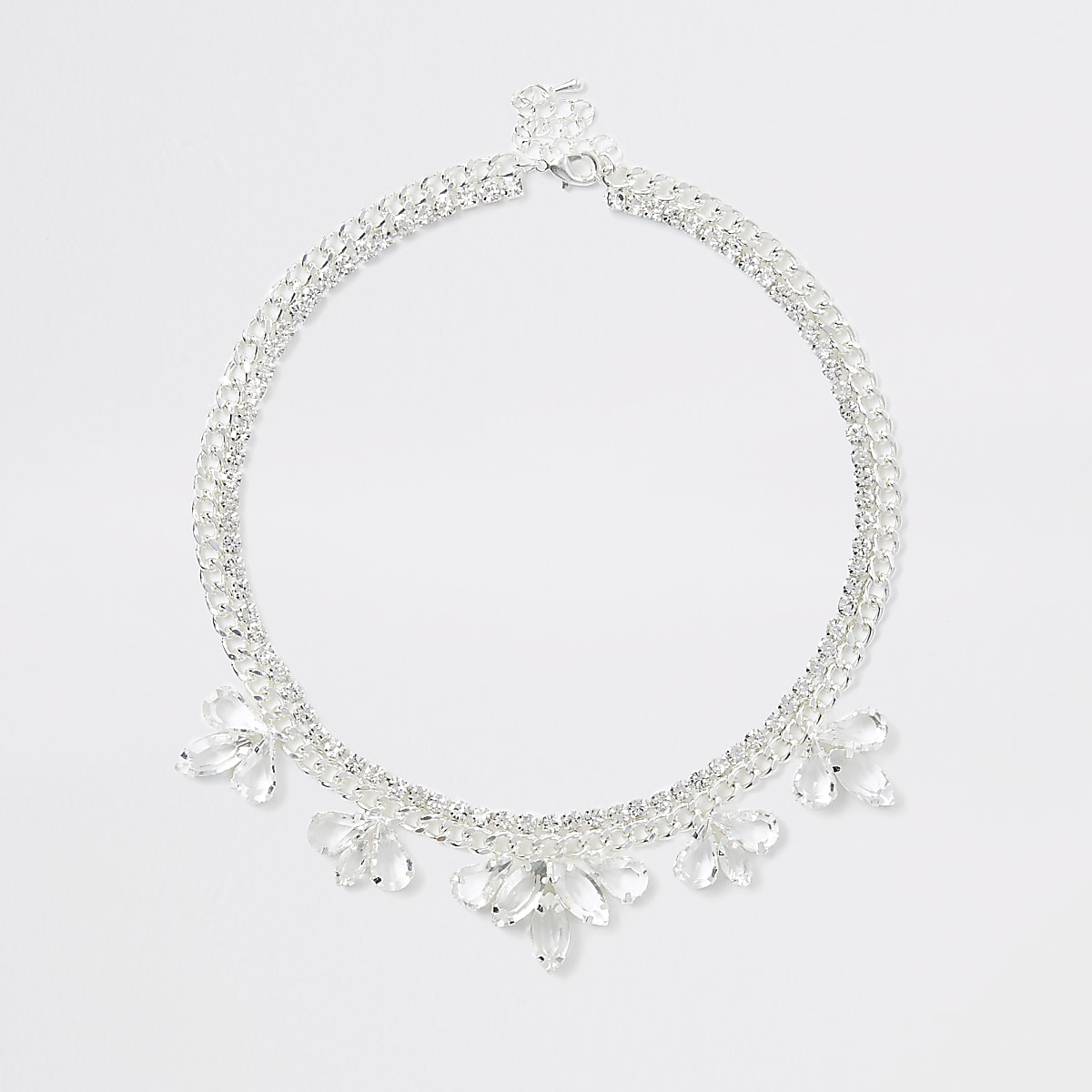 Silver colour flower jewel necklace